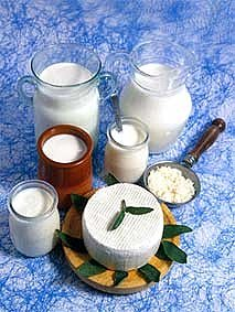 йогурт из закваски живой баланс в разных емкостях на мраморном столе вместе с творогом на деревянной доске