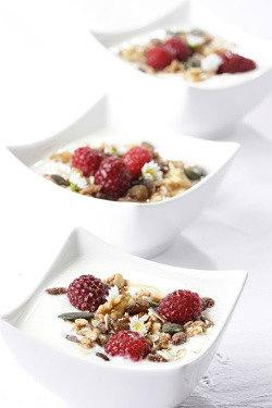 домашний йогурт из закваски живой баланс в белых пиалах с малиной, семечками, овсяными хлопьями