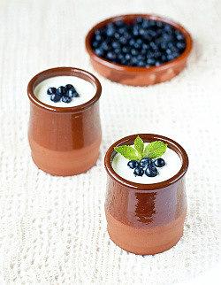 домашний йогурт в глиняных горшочках из закваски живой баланс с ягодами черники и листиками мяты
